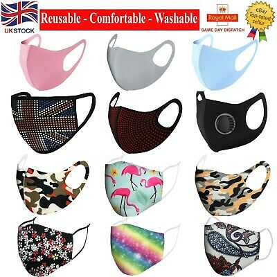 Reusable Face Mask With Filter Air Valve Washable Masks Mouth Nose Breathable UK • 3.59£