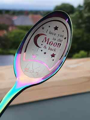 I Love You To The Moon And Back - Cute Custom Spoon - Personalised Love Gift • 7£