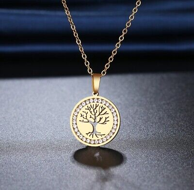 Gold 316L Stainless Steel Tree Of Life Pendant Necklace With Crystals Chain UK • 3.49£