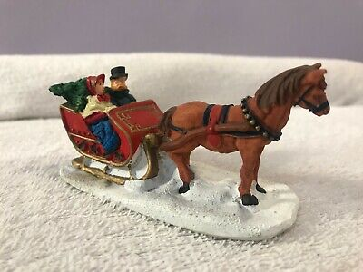 $5.99 • Buy Christmas Village Accessory Horse Drawn Sleigh Victorian Couple W/tree EX5033
