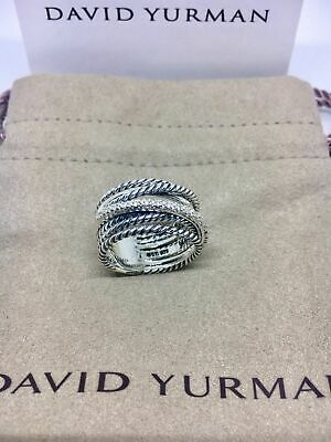 $279 • Buy David Yurman Sterling Silver Diamond Crossover Cable Wide Band Ring Size 8