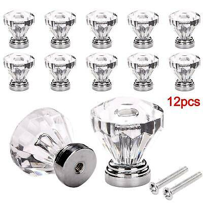 12Pcs Door Knobs Clear Crystal Glass Diamond Cupboard Cabinet Drawer Handles • 6.49£