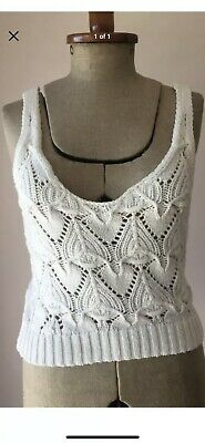 AU40 • Buy Hollister S 8-10 White Knitted Knit Crop Top Crochet Lover General Pants