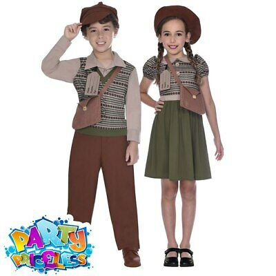 1940s WW2 Wartime School Girl Boy Costume Kid History World Book Day Fancy Dress • 10.99£