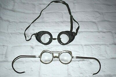 $74.99 • Buy Antique Original Steampunk Glasses Motorcycle Aviator Goggles 2 Pairs