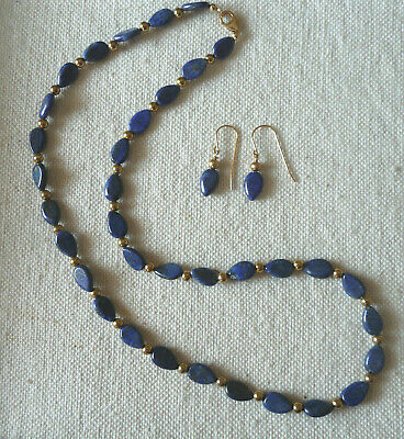 $21.99 • Buy 10MM Blue Lapis Lazuli 20'' Necklace With 14K 3MM Gold Balls