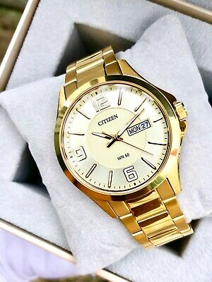 Citizen Quartz Mens Dress Watch W.R 50M BF2003-50P Gold Plated Steel UK Seller • 99.95£