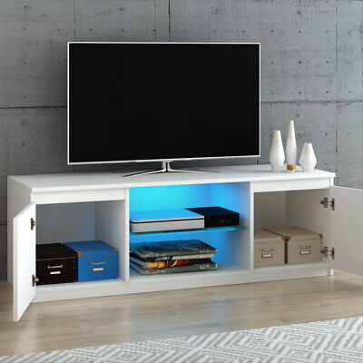 Modern LED TV Unit Stand Cabinet Grey High Gloss 2 Doors Glass Shelves Living • 56.99£