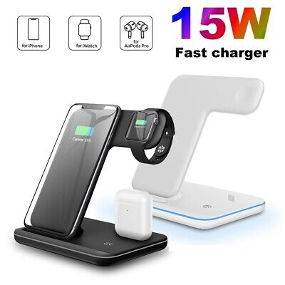 AU38.79 • Buy 15W Qi Wireless Charger Charging Stand Dock 3 IN 1 For Apple Watch IPhone 11 XS