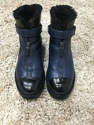 AU175 • Buy Kenzo 38 Navy And Black Fur Lined Boots