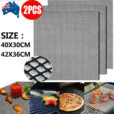 AU9.99 • Buy 2PCS Mintiml Charcoal BBQ Grill Mesh Mat Non-Stick Cooking Barbecue Liner Sheet