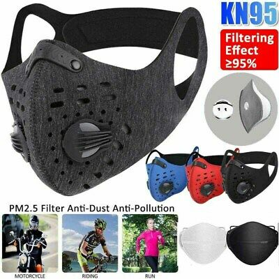 AU14.97 • Buy Reusable Sport Face Mask Cover With Valve 10X Activated Carbon Filter Pad Gasket
