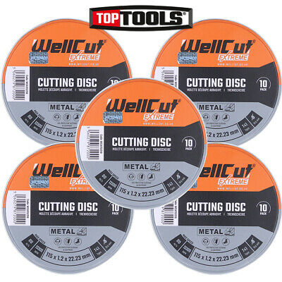 AU44.04 • Buy Wellcut Cutting Disc 115mm 4.5 Inch In Metal Box For Angle Grinder Pack Of 50