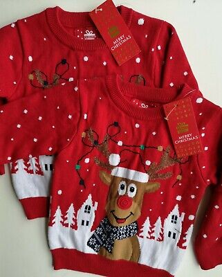 Baby Boys Christmas Jumper Bundle Age 9-12 Months Primark X 2 Jumpers Twins  • 10£