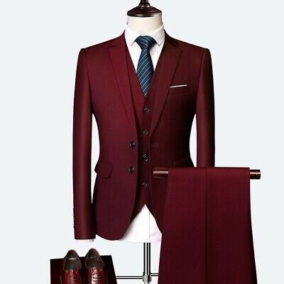 $ CDN145.18 • Buy Men Three-piece Business Casual Suit Tuxedos Wedding Groom Two Button Slim Fit