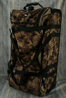 £20.65 • Buy 🔥QUIKSILVER Rolling Duffel Suitcase Travel Luggage Brown Camouflage LARGE🔥