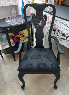 Hand Painted, Decorative Large Queen Anne, Carver  Chair In French Chic Loof • 85£