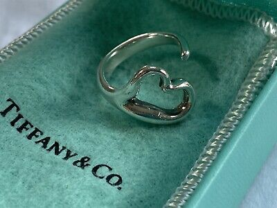 Used Tiffany & Co Elsa Peretti Sterling Silver Open Heart Love Ring Size 5.5. • 95£