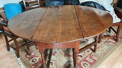 Antique French Polished Oak Oval Gate Leg Table And 1 Carver + 6 Chairs • 400£