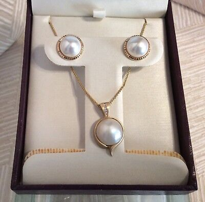 $549.99 • Buy  Mabe Pearl Diamond 14K Yellow Gold Pendant Necklace & Earrings