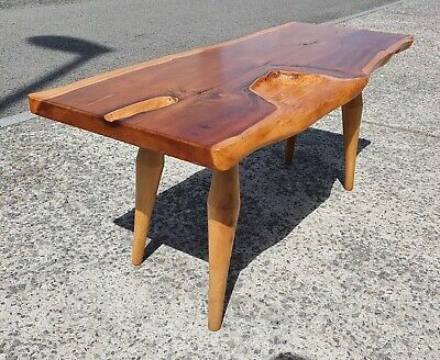 £250 • Buy Vintage Live Edge Solid Yew Wood Coffee Table   Repolished   Delivery Available