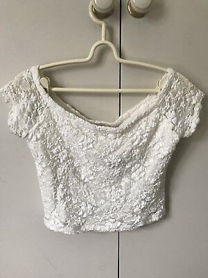 AU9.99 • Buy Hollister Lacey Off Shoulder Cropped Top SiZe M 10 Off White Stretchy
