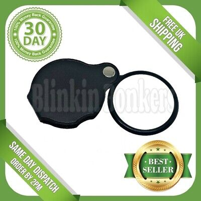 10x Pocket Size Loupe Magnifying Glass Jewellery Small Print Reading Magnifier • 2.80£