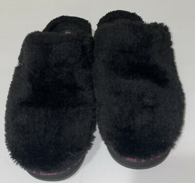 Skechers Womens  Black Faux Fur Clog Slip On Slippers Size 9 SN 47343 GUC • 14.36£