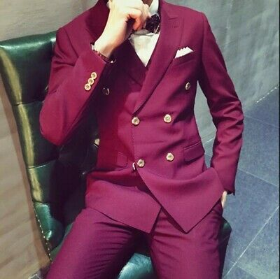 $ CDN126.60 • Buy Mens Double Breasted Wedding Dress Suit Wine Red Business Slim Fit Tuxedo Outfit