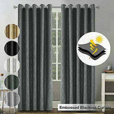 New Ready Made Thermal Blackout Eyelet Ring Top Curtains Pair Matching Tie Backs • 18.99£