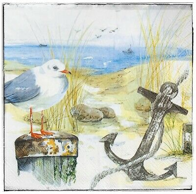 Wall Hanging Plaque/picture Ocean Seaside Seagull Beach Coast Anchor • 8.50£