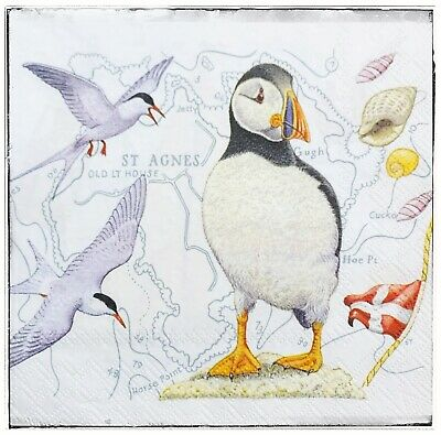 Wall Hanging Plaque/picture Ocean Seaside Puffin Seagulls • 8.50£