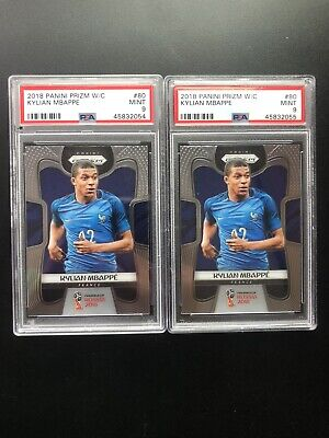 $ CDN1070.55 • Buy (2) 2018 Panini Prizm WC World Cup Kylian Mbappe Rookie RC 80 PSA 9 SEQUENCED-2