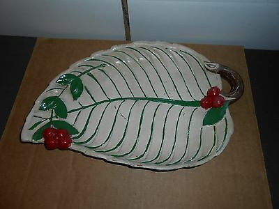 $ CDN30.62 • Buy Unusual Vtg Holly Leaf Christmas Cookie Tray Candy Dish Spider Web On Back 13x9