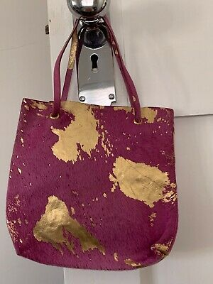 AU5 • Buy Coccinelle Small Pony Skin Gold And Purple Handbag Tiny Tote.