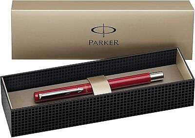 £12.39 • Buy Parker Fountain Pen Vector Stainless Steel Trim With Medium Nib, Gift Box - Red