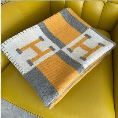 170CMX135CM H-Blanket Wool Cashmere Throw Plaid Blankets Shawl Sofa Aircraft  • 99£