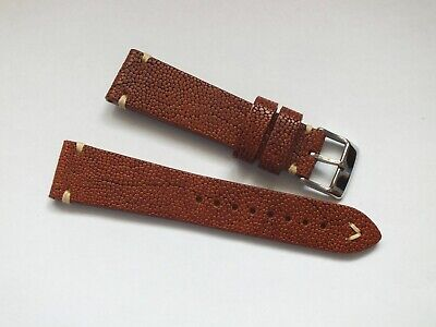 Genuine Italian Leather Handmade Cork Grain Watch Strap 22mm Brown By Geckota • 10.99£