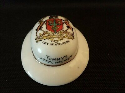 Crested China - Willow Art - WW1 - Tommy's Steel Helmet - NOTTINGHAM Crest. • 14.99£