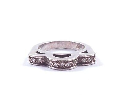 Silver CZ Eternity Ring Unusual Shaped 925 Sterling 6.1g  • 20£