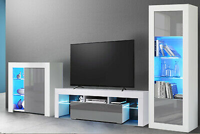Living Room Set Led TV Unit Display Cabinet Cupboard High Gloss Doors Furniture  • 89.99£