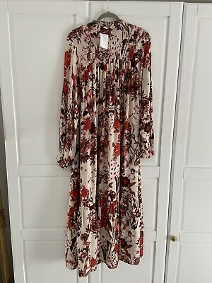 H&M Floral Midi Dress With Stand Up Collar SIZE 12 BRAND NEW • 35£