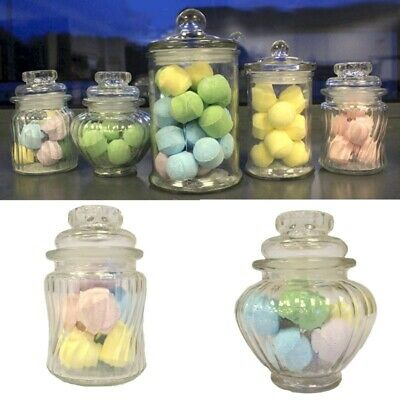 Glass Candy Jar With Lid - Sweet Storage Small Ribbed Bottle And Stopper • 7.19£