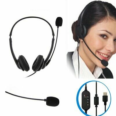 USB Wired PC Computer Headset Mic Headphones Noise Cancelling For Skype Calling • 14.69£