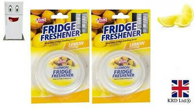2 X Lemon Fridge Freshener Deodoriser Scent Kitchen Remove Smell Odour GM2894 UK • 6.39£