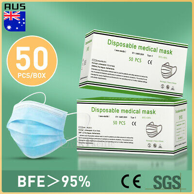 AU14.99 • Buy 50 PCS Face Mask 3 Layer Protective Mouth Masks Filter Respirator Daily