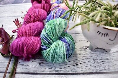"AU46 • Buy Hand Dyed  ""Hello Parker"" 10 Ply Merino  Yarn X 2 Skeins ""Colour Therapy"""