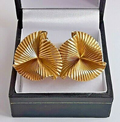 £750 • Buy TIFFANY & CO 14ct 585 Yellow GOLD CLIP EARRINGS Vintage Fluted Style 22mm
