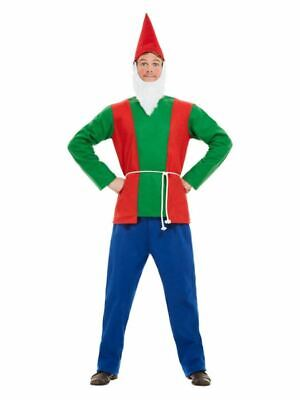 Mens Garden Gnome Costume Dwarf Funny Novelty Stag Adults Fancy Dress Outfit • 20.99£