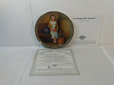 $ CDN12.52 • Buy Edwin Knowles Norman Rockwell A Young Girl's Dream 8.5  Decorative Plate Pl697